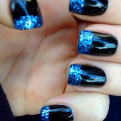 Black gels with blue French glitter
