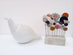 Snow Bird and Garden by Jane Muir at Cornwall Contemporary art gallery, Penzance, Cornwall. Affordable Art Fair, Craft Activities, Contemporary Art, Area Rugs, Arts And Crafts, Pottery, Clay, Hand Painted, Ceramics