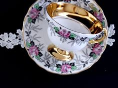 Vintage Teacup, Tea Cup and Saucer, Royal Dover Footed Cabinet Set 13183