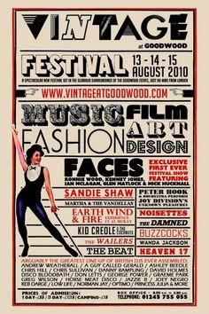 Vintage Goodwood! Festival Flyer, Festival Posters, Art Festival, Girly Girl, Kenney Jones, Sandie Shaw, Mick Hucknall, Vintage Concert Posters, Vintage Festival