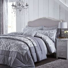 Catherine Lansfield Damask Jacquard Silver Duvet Set S/D/K/SK and Accessories Silver Bedding, Damask Bedding, Silver Bedroom, Nursery Bedding Sets Girl, Bedroom Sets, Bedrooms, Master Bedroom, Luxury Duvet Covers, Luxury Bedding Sets