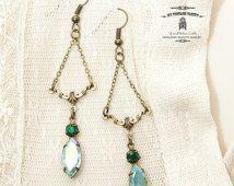 Victoria Green Brass Earrings
