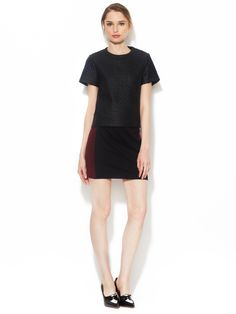 ISABEL LU - Ponte Mini Skirt with Faux Suede Combo