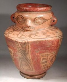 Cocle Figural Vessel ; Cocle Figural Vessel — Panama   600 AD - 800 AD   A rare and exceptional Cocle figural vessel with rolled rim and footed base.