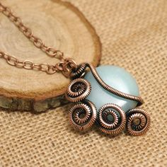 Silver Necklace With Gemstones Info: 3073608435 Copper Jewelry, Wire Jewelry, Jewelry Shop, Handmade Jewelry, Jewelry Making, Handmade Copper, Fashion Jewelry, Copper Wire, Gold Jewellery