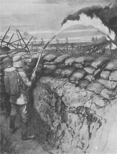 30th. July 1915, The Battle of Hooge. Germans put their new weapon, the flammenwerfer, or flamethrower, to devastating use against the Allies. 11 days prior, British infantry had captured the German-occupied village of Hooge, near Ypres, by detonating a large mine. Using flamethrowers to great effect, with machine guns, trench mortars and grenades, the Germans reclaimed their positions, pushing the British forces back to their 2nd trench.