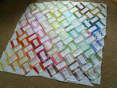 Pre-sew white strip onto colored fabric and then piece together for signature quilt guest book