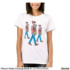 Where's Waldo Carrying Stack of Books T-Shirt Cartoon T Shirts, Red And White Stripes, Wardrobe Staples, Colorful Shirts, Fitness Models, Cool Outfits, Female, Awesome, Casual