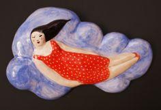 DREAMS / ON CLOUDS /ANGLES IDEA woman and cloud. wall ceramic.  mujer y nube . cerámica de pared. Carmen García