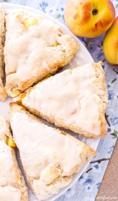 These peach pie scones are made completely from scratch and made with fresh peaches! These flaky scones are made with cream and topped with a sweet vanilla glaze. #pie #scones #peach #dessert #Recipe