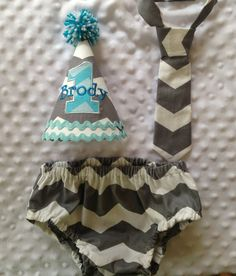 Boys Cake Smash Outfit Gray Chevron Diaper by SlickandBoogers, $20.00