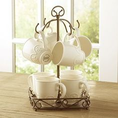 Meridian Mug Caddy - Keep your mugs organized and handy with this cleverly designed caddy. Contact me to place an order or see how you can get this item for Wrought Iron Decor, Princess House Crystal, Princess House, Crockery Design, Mug Rack, Mugs, Indoor Decor, Iron Decor, Small Kitchen Decor