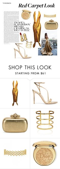 """""""GOLDen Globes"""" by pennyk1998 ❤ liked on Polyvore featuring Gianvito Rossi, Alexander McQueen and Christian Dior"""