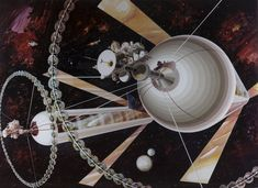 artist rendition of a cylindrical colony designed for nasa