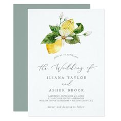 Modern Lemon Garden Simple Wedding Invite with boho white flowers, elegant green leaves and bright yellow beautiful watercolor lemons with a mediterranean feel. It's perfect for a spring or summer destination wedding in Italy or Greece. Click to customize with your personalized details today. Beautiful Wedding Invitations, Elegant Wedding Invitations, Floral Wedding, Rustic Wedding, Floral Watercolor, Watercolor Wedding, Simple Weddings, Wedding Events, Wedding Ideas