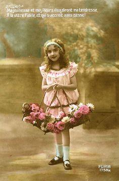 Vintage Postcard ~ Pink Flower Girl | Flickr - Photo Sharing!