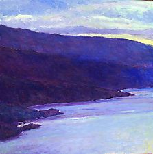 "Water's Edge in Blue by Ken Elliott (Oil Painting) (36"" x 36"")"