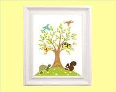 Woodland Animals with Tree, 8x10 print, for nursery, or playroom, or as a gift, also have the via Etsy