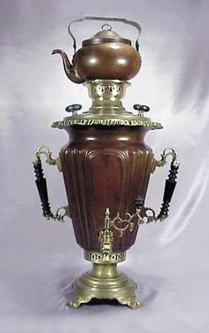 Rare Antique Imperial Russian Samovars. Massive Conical Shaped Samovar. Russian Imperial Samovars were presented at exhibitions in Russia and abroad in the 18th and 19th centuries. The designers and makers were often awarded with medals, the reprints of which were later engraved or stamped on the Samovars and on Samovars of like design from the same maker or their heirs.