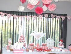 pink pom pom baby shower - Google Search