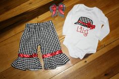 Alabama Ruffle Houndstooth Pants and Appliqued by laartandstitches, $45.00
