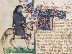 """Geoffrey Chaucer as a pilgrim in Canterbury Tales, from the 14th C. Ellesmere Manuscript. Illumination. The Huntington Library, Art Collections, and Botanical Gardens, San Marino, CA --------------""""Chaucer and horse on a grassy plot, in a niche in the border decoration by the second artist, with discrepancy between the large bust of Chaucer and the smaller legs and horse; opening initial painted to the right of the preparatory pen outline; faded."""" (Berkeley, University of California, The…"""