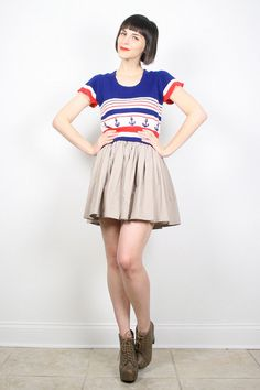 Vintage Sailor Sweater Crop Top Cropped by ShopTwitchVintage