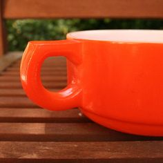neon orange retro soup mug Etsy, $8