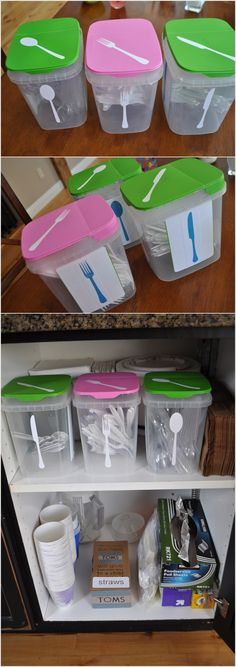 Use Recycled and Labelled Plastic Containers for Cutlery Storage