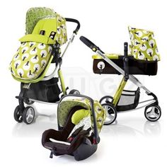 Cosatto Giggle 3 in 1 Travel System - MY PRAM in the blue and white stripe design with red bow design if its a girl