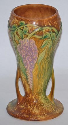Roseville Pottery Wisteria Tan Vase 635-8 from Just Art Pottery