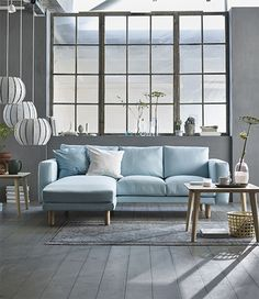 tweezitsbank met chaise longue NORSBORG, lichtblauw