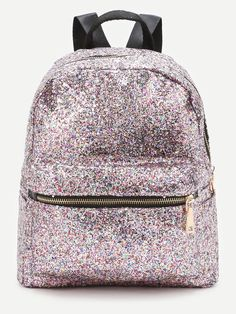 Shop Pink Front Zipper Glitter Backpack at ROMWE, discover more fashion styles online. Cute Mini Backpacks, Stylish Backpacks, Girl Backpacks, Fashion Bags, Fashion Backpack, Backpack Purse, Backpack Online, Travel Backpack, Glitter Fashion