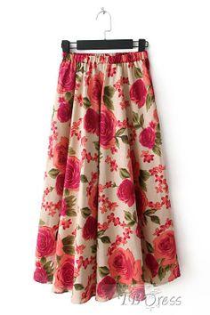 $ 28.99 Beautiful Flowers Print Pleated Long Women Skirt