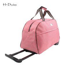 cfb8c6fda37 Small Wheeled Duffle Trolley Bag Women Soft Luggage Travel Bags on Wheels  Fashion Designer Duffel Waterproof