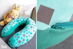 Stillkissen selber nähen - Kostenlose Anleitung mit Schnittmuster - Talu.de Pillows, Sewing, Round Cushions, Practical Gifts, Baby Favors, Dressmaking, Couture, Stitching, Cushions