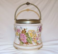 Early Carlton Ware Biscuit Barrel Jar, Late 1800's, Missing Lid, Stunning, EPNS