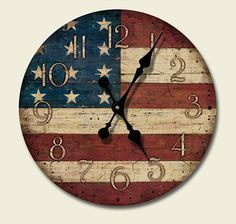 patriotic decor | Western Lodge Cabin Decor Americana Wood Wall Clock | eBay