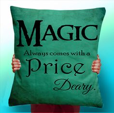 Once Upon a Time rumpelstiltskin Magic always comes at a price deary - Cushion / Pillow Cover /typographic pillow typographic Panel / Fabric by ThisShopReallyRocks on Etsy