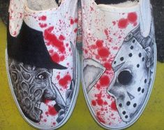 Freddy vs No Jason Vans Customized handpainted vans Painted Canvas Shoes, Painted Sneakers, Hand Painted Shoes, Vintage Sneakers, Crazy Shoes, Me Too Shoes, Vans Old Skool, Nike Air Force One, Custom Vans Shoes