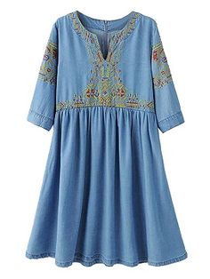 Blue V-neck Embroidery Pattern Half Sleeve Denim Dress