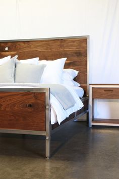 Modern Walnut and Steel Bed by foundpurpose on Etsy