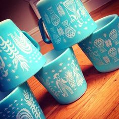 Farm Girl Pink....: ~ Pyrex - Butterprint in Turquoise... Coffee cups!  Good grief, now I have to have these, too. (violet)