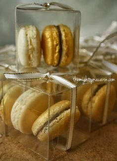 Ivory and Gold Macaron Wedding Favours from www.themightymacaron.com