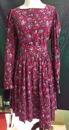 80s Vintage LAURA ASHLEY 100% Corduroy Floral Belted Dress Size 14 Large Pockets #LauraAshley #Sheath #Casual