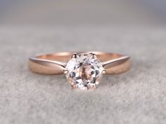 7mm Round Cut Morganite Solitaire Engagement Ring 14k Rose gold 6-Prongs Unique