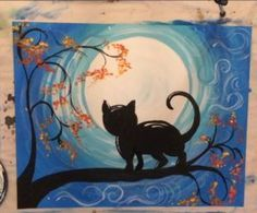 Step by step painting. Learn how to paint a cat and moon with Tracie& acrylic canvas painting tutorials! All tutorials are free and meant for beginners. Canvas Painting Designs, Fall Canvas Painting, Canvas Painting Tutorials, Moon Painting, Simple Acrylic Paintings, Acrylic Painting Tutorials, Acrylic Canvas, Canvas Art, Canvas Paintings