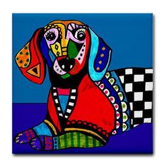 65% Off- dog tile DOXIE GIFT Decorative Ceramic Tile Dachshunds Doxie Art Blue Dog