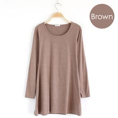 Cute & Comfy ~ Brown long-sleeve jersey knit dress.  Soft cotton knit casual easy-to-wear mini dress,