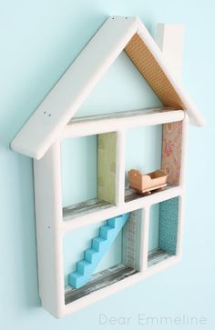 DIY Dollhouse Shelf Redo by dearemmeline: So sweet! #DIY #Dollhouse